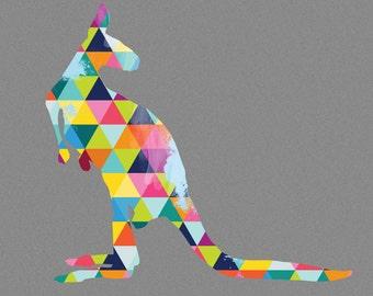 Kangaroo Print Poster Animal Australian Design Bright Colorful Colourful Geometric Grey Gray Wall Home Decor Gift Easter Childrens bedroom