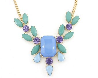 Gold tone Faceted Blue Beads and Crystal Decorated Necklace,R2