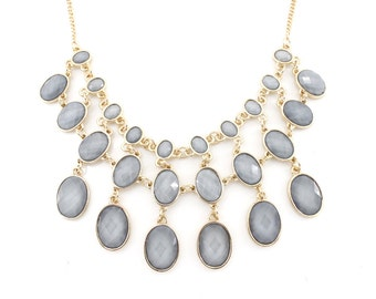 Gorgeous Bright Gold tone Light Grey Color Statement Necklace,A12
