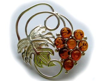 Natural Baltic Amber brooch.