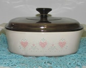 Vintage Corning 'Forever Yours' 2 Quart Casserole, Pink Hearts, Aqua and Beige, Shabby Folk Country Chic, Bakeware, Cookware
