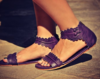 SALE. Sz. 9.5. MIDSUMMER. Purple leather sandals / womens shoes/ leather shoes / barefoot sandals / boho.