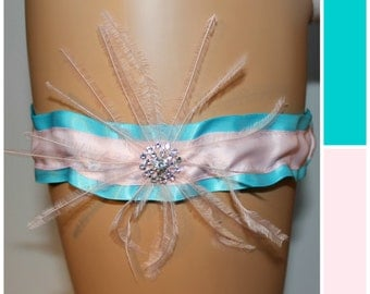 CLEARANCE - Turquoise and Pink Feather Bridal Garter, Bride Garter, Wedding Garter, Prom Garter