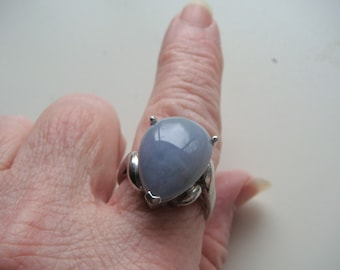 Silver and Blue Agate Ring