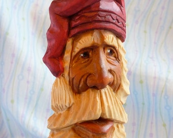 Hand Carved Pensive Santa Claus Decoration