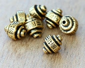 5 pcs Antique Gold TierraCast Beads, 10mm Abstract Ethnic Barrel - eTBE529-AG