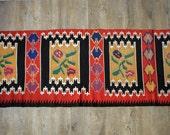 6.92 ft X 2.06 ft, Rag Runner Floral Pattern Motif, Vintage Hand Woven Carpet, Balkan Traditional Kilim, Pure Organic Wool