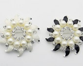 1 pcs 2.00 inch White/Black Pearl Rhinestones Gold Metal Shank Buttons for Brooches