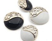 6 pcs 0.83~0.98 inch Black/White Gold Plastic Shank Buttons for Women Coats