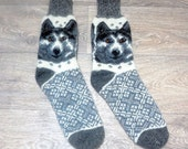 Warm Knitted Men's Woolen Thick Socks With Ornament Dog - Best Price