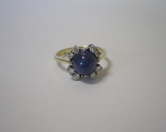 Vintage Art Deco Two Tone 14 kt Gold Blue Sapphire Cabochon Diamond Ring Size 6