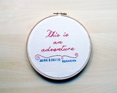 Personalized Wedding Ring Holder  -This is an adventure -  Wes Anderson Quote, Engagement ring holder, Wedding Ring Holder, Embroidery Gift