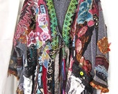 SILK ROAD GYPSY Kimono, Jeweled Collage Jacket, Fabric Art, Altered Couture, Magic Moroccan Nights, Nomadic Boho Wrap, Special Occasions
