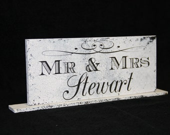 Mr and Mrs Table Sign for Head Wedding Table  Self Standing Wedding Sign