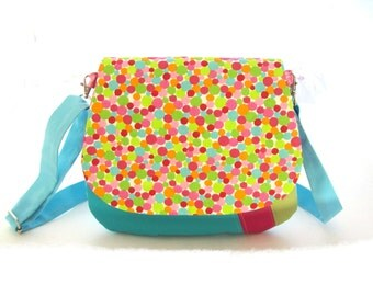 handbag dotted,shouder bag turquoise and multicolor dots faux leather and fabric