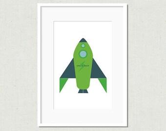 Modern rocket print, rocket art, green rocket, modern nursery art, nursery decor, kids room decor, colorful nursery art, modern kids art