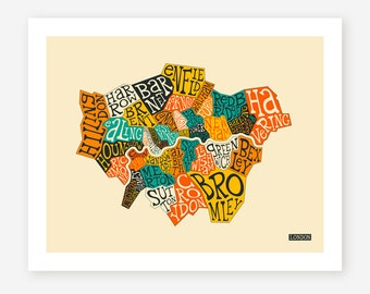 LONDON BOROUGHS, Giclee Fine Art Print, Modern Wall Art for the Home Decor