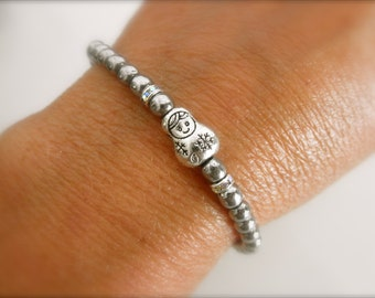 Matryoshka doll bracelet -   silver beads bracelet - silver matryoshka - pewter bracelet - silver beads bracelet -  matryoshka bracelet-