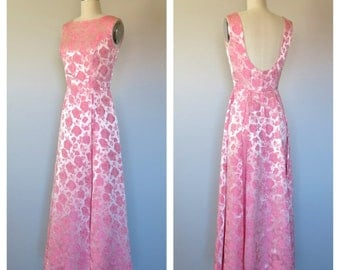 60s silk brocade gown size xs-s / 60s party dress