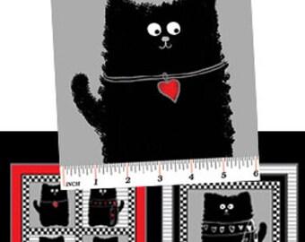 Smudgy Cat Red Grey Feline Cotton Quilting Fabric Panel 60cm x 110cm Benartex