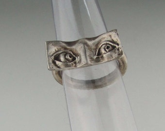 "Sterling Silver Eye Ring ""Even Steven"" Size 6.75"