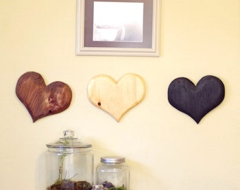 Heart - Qty 3 Wood Hearts - Heart Wall Decor