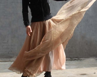 chiffon maxi skirt---golden brown skirt long skirt pleated skirt autumn skirt