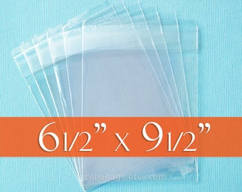 "100 6 1/2 x 9 1/2 Inch Clear Resealable Cello Bags, Acid Free (6.5"" x 9.5"")"