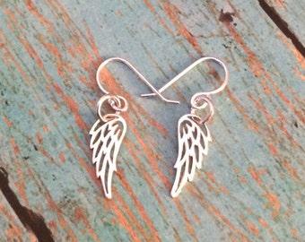 Itsy Bitsy Teeny Weeny Angel Wing Dangle Earrings, A Dainty Pair of Solid 925 Sterling Silver Ear Wire Angel Wing Dangle Earrings