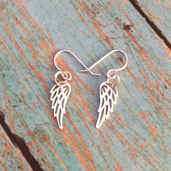 Itsy Bitsy Teeny Weeny Angel Wing Dangle Earrings, A Dainty Pair of Solid 925 Sterling Silver Ear Wire Angel Wing Dangle Earrings
