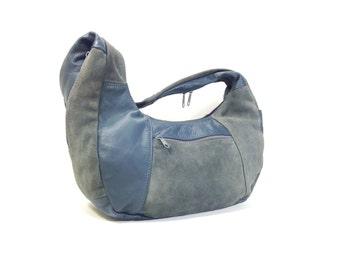 Blue Leather Hobo Bag - Large Leather Shoulder Bag - Blue Leather Hobo Bag - Hippie Purse