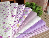 Purple Bundle Fabric/ Lilac Purple Fabric/ Purple Cotton Fabric/ Girl's Fabric Bundle - Sets for 8 each 45cmX45cm