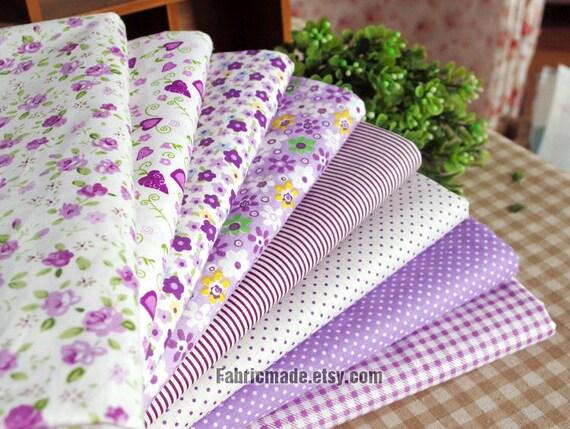 Purple Bundle Fabric/ Lilac Purple Fabric/ Purple Cotton Fabric/ Girl's Fabric Bundle - Sets for 8 each 45cmX45cm