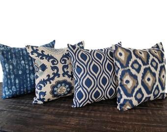 Throw pillow covers Set Of Four blue gray beige ikat batik cushion cover pillow sham