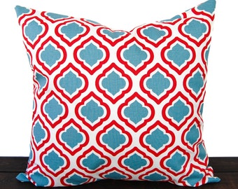 Dusty Blue and red pillow cover cushion cover blue ivory red white pillow case Curtis print