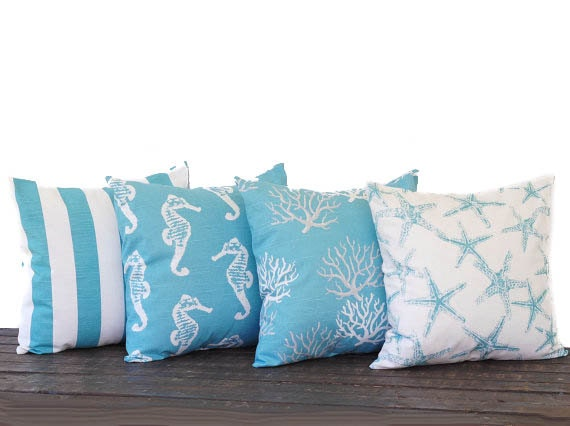 coastal blue pillow cover 20 x 20 set of four. Black Bedroom Furniture Sets. Home Design Ideas