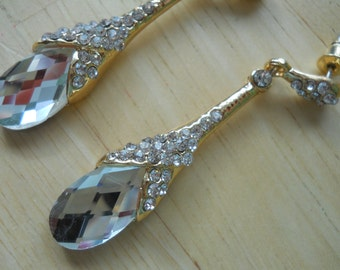 Gold tone Post Dangle Earrings with a Clear Crystal Bead and Small Clear Rhinestones