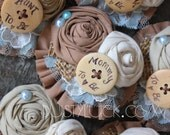 Rustic Country Mommy to Be Pin // Mommy to be, Bride to be Burlap Brooch // Custom Made