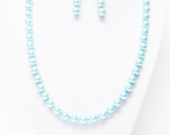 Teal Glass Pearl with Teal Glass Seed Bead Necklace & Earrings Set