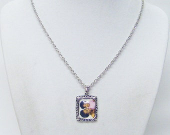 Square Silver Plated Photo Frame Charm Necklaces