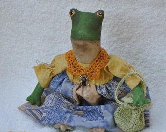 "SALE! Fretta the Frog. 26 cm / 10"" tall  Folk, Primitive Art Doll. Fretta's original design."