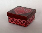 Love Knot Heart, Jewelry Gift Box, Hand Painted Box, Valentine's Box, Heart Box