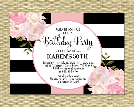30th birthday invitation black white stripes pink peonies floral il570xn stopboris Images