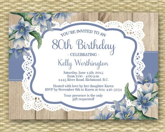 80th Birthday Invitation Adult Milestone Birthday Rustic Wood