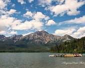 Canadian Rockies photography, Lake photograph, Mountain photo, Jasper pictures, Summer travel photo, canoes, Lake wall art, outdoor gifts