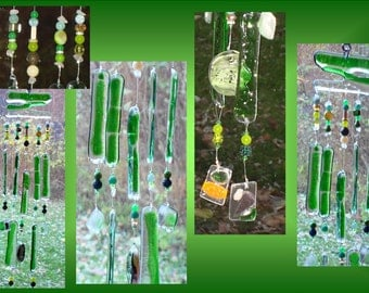 Glass Windchimes Fused Glass Windchime Green Windchime Garden Decor Stained Glass Windchime Window Suncatchers Mobiles