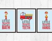 firetruck prints, Little firefighters take a bath, Kids Decor, Word Art, Kids Wall Art, Baby Decor, Nursery prints, firetruck decor