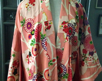 40s Bright Coral Floral Rayon Full Length Kimono