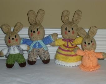 Easter Bunny Family - Toys - Dolls - Rabbits - Hand Knit
