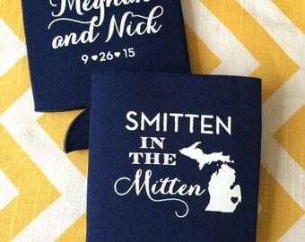Smitten in the Mitten Wedding can coolers, Michigan wedding favors, great lakes wedding can coolies